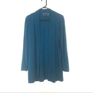 Karen Scott teal blue open sweatshirt